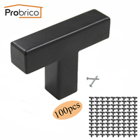 Probrico 100 PCS Black Furniture Drawer Knob Square 12mm 12mm Stainless Steel Cabinet Door Handle Cupboard