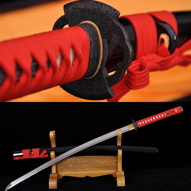 Espada japonesa Samurai Acero de alto carbono Full Tang KATANA - Decoración del hogar