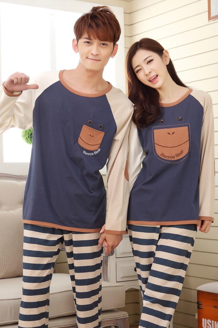 2018 Autumn Winter Couple Pajama Sets Long Sleeve Cotton Pyjama Women Men Couple Nightgown Lovers Cartoon Sleepwear Nightwear