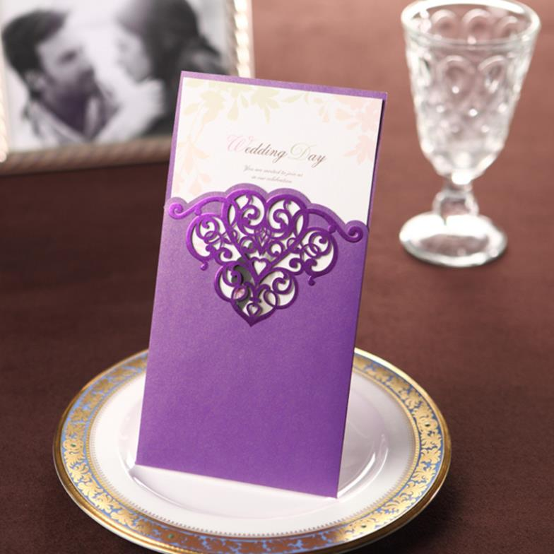 20 pcs Vintage Purple Lace Cheap DIY Wedding Invitations Cards in ...