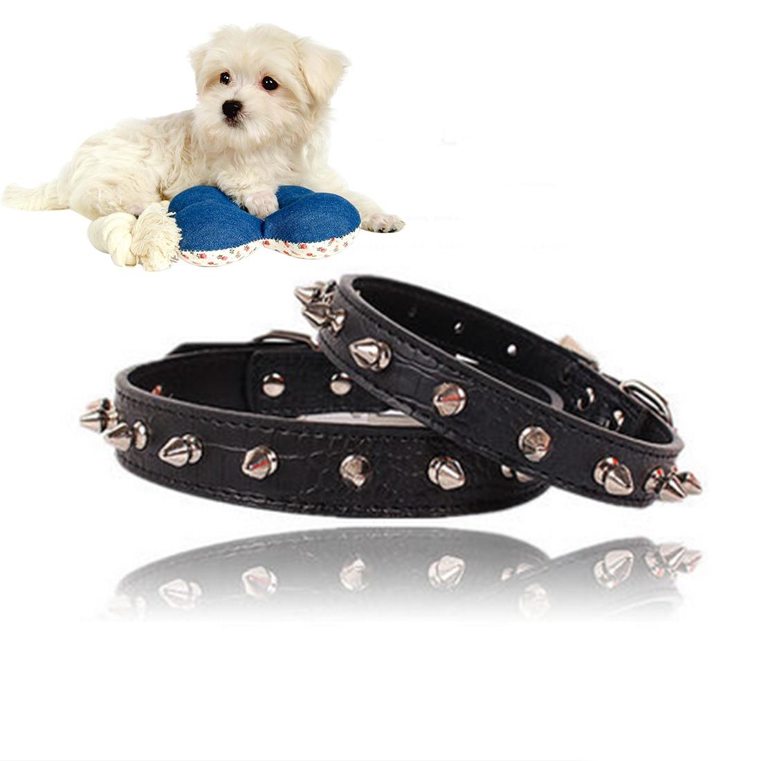 Hot sale Pet Puppy Dog Collars Adjustable PU Leather Punk Rivet Spiked Studded Pet Collar Neck Straps