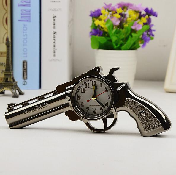 Hot 2016 novelty pistol gun shape alarm clock desk table for Home decor gifts