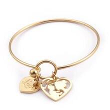2de45f5c05f4 58mm Acero inoxidable oro amor corazón encanto pulsera y brazalete para  mujeres hueco mamá y niños brazaletes madre día regalos .