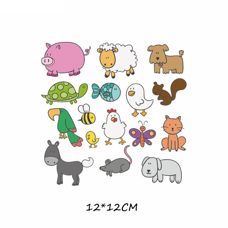 Набор патчей с изображением животных из мультфильмов, милые патчи с изображением единорога, кошки, совы, собаки, цветов для детей, одежда для девочек, футболка, сделай сам, термопресс - Цвет: 617