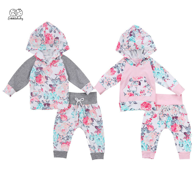 Emmababy Newborn Baby Boy Girl Floral Clothes Long Sleeve Hooded Tops Long Pant Trouser 2PCS Toddler Kids Clothing Tracksuit summer 2017 newborn baby boy clothes short sleeve cotton t shirt tops geometric pant 2pcs outfit toddler baby girl clothing set