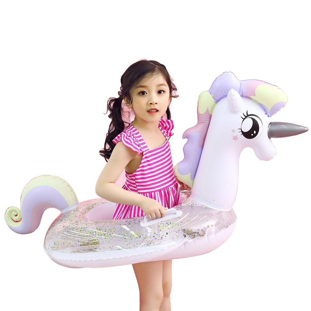 YUYU Baby Swimming Ring Unicorn Seat Float Inflatable Flamingo Pool Float Pool tube Toy shiny unicorn baby float Swim ring