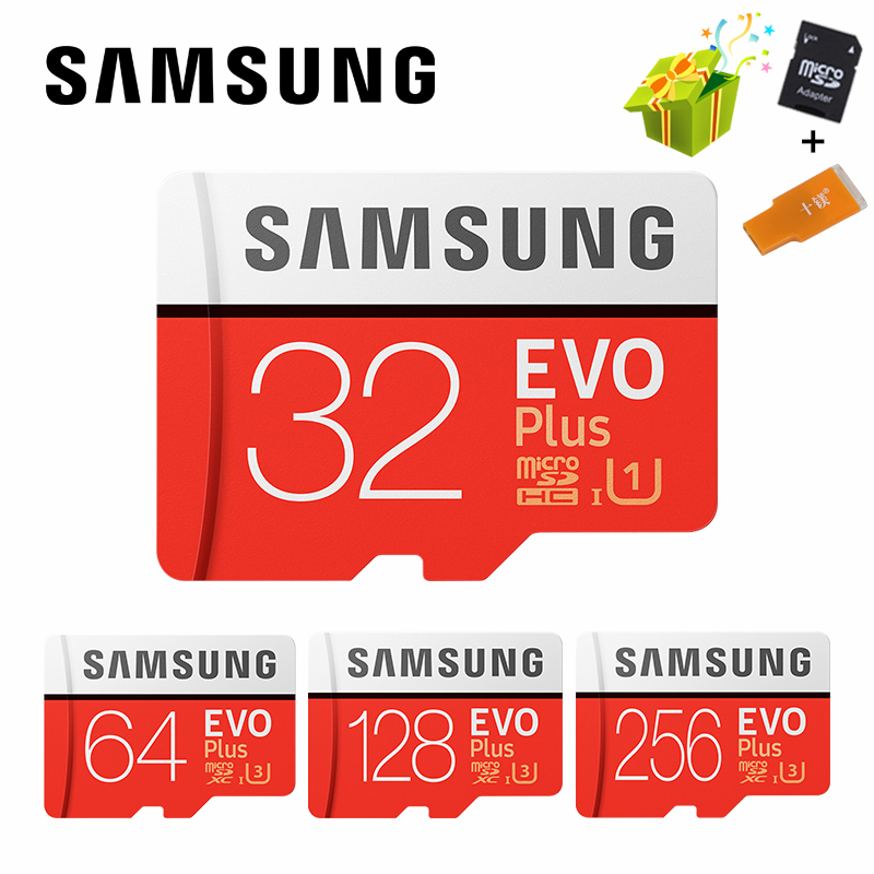 SAMSUNG Microsd Card 256G 128GB 64GB 32GB 16GB 8GB 100Mb/s Class10 U3 U1 SDXC Grade EVO+ Micro SD Card Memory Card TF Flash Card genuine samsung sd memory card 8gb