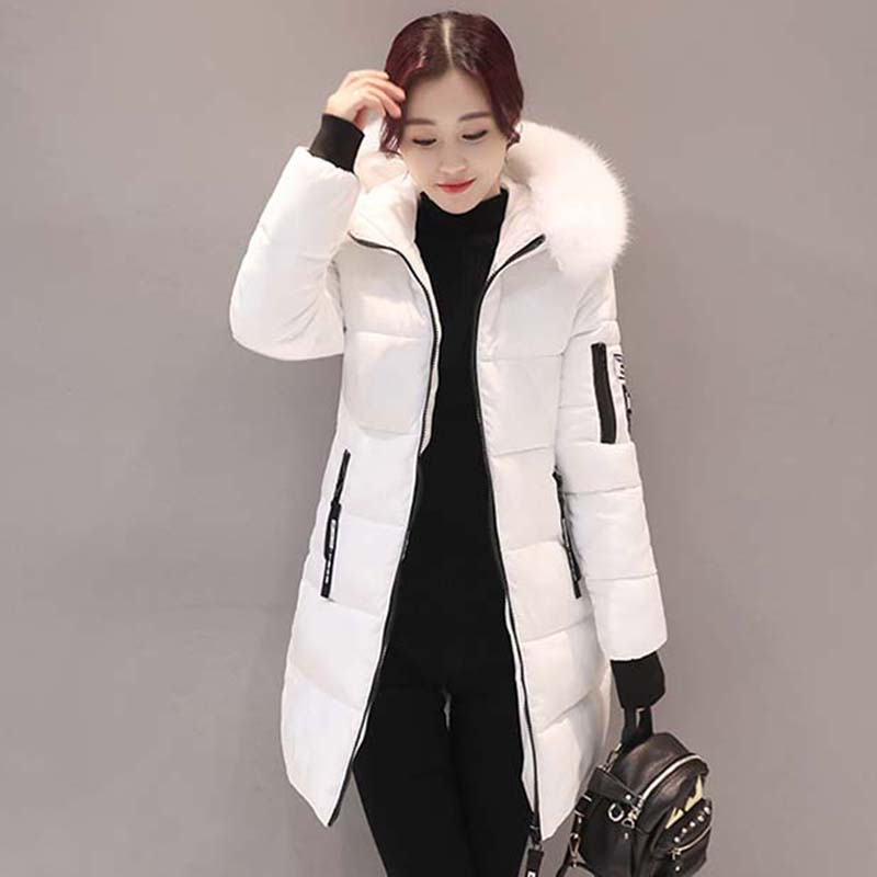 2017 Winter Jacket Women Faux Fur Collar Hooded Outerwear Parka Long Warm Thick Coat Wadded Plus Size Cotton Padded Coat XT0229 winter jacket women cotton short jacket 2017 new wadded padded slim hooded warm parkas fur collar outerwear female winter coat