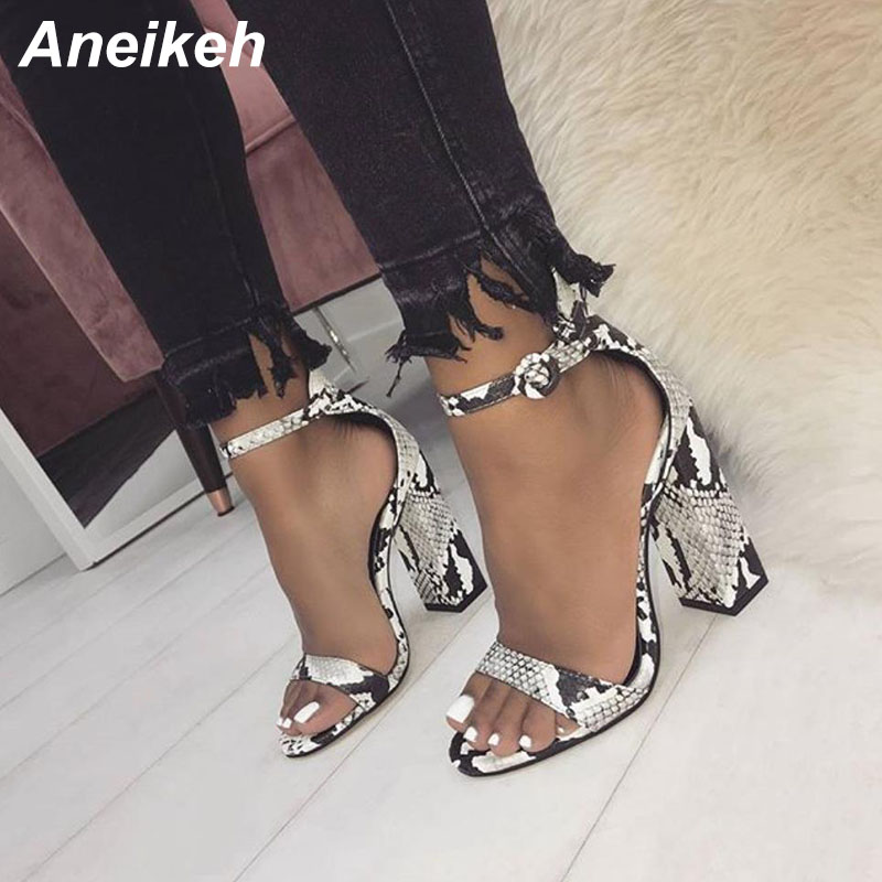 Aneikeh 2019 Sandals Fashion Serpentine Women Sandals High Heels Classic Ankle Strap Buckle Strap Shoes Size 35-40 Dress Shoes Aneikeh 2019 Sandals Fashion Serpentine Women Sandals High Heels Classic Ankle Strap Buckle Strap Shoes Size 35-40 Dress Shoes