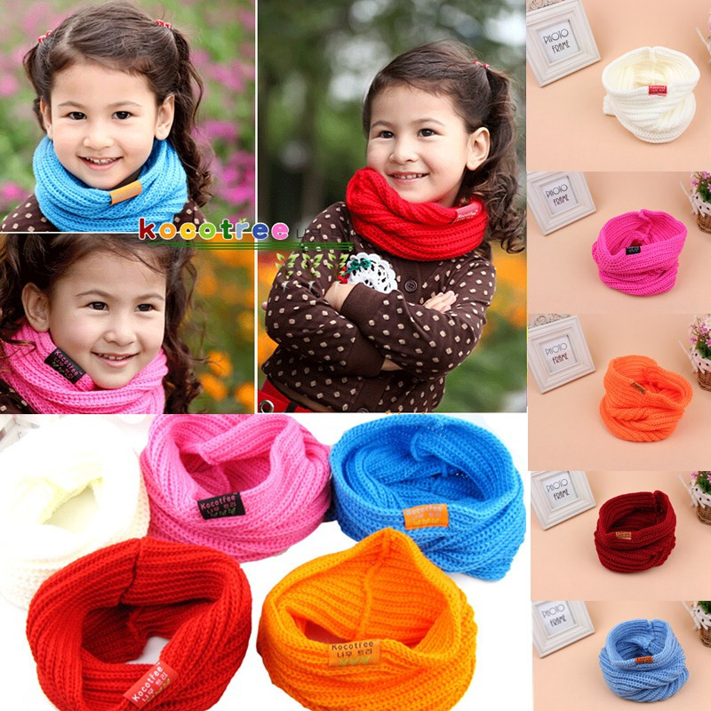 Children's Muffler Baby Warm Scarf Boy /Girl Knitted O Ring Scarf 2017 New Style Designer Knitting Kids Neck Warmer Neckerchief