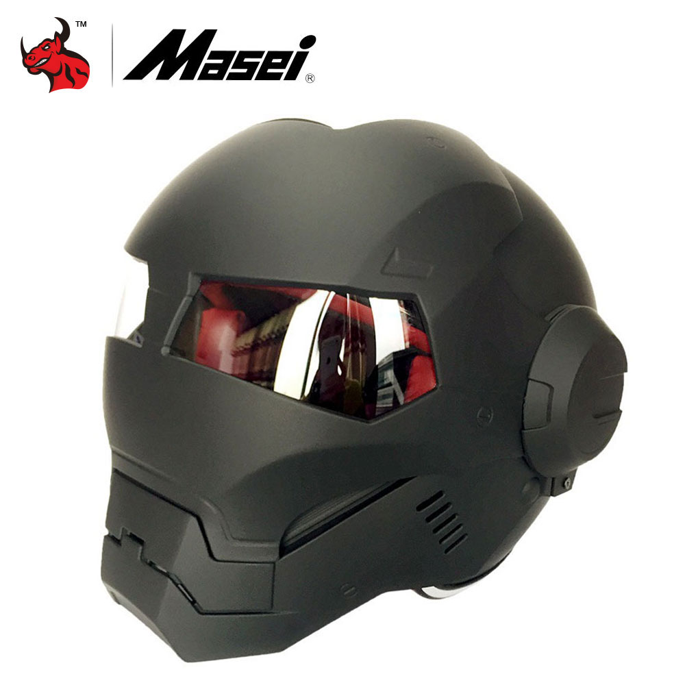 MASEI Iron Man Personality Motorcycle Helmets Fashion Half Open Face Motocross Helmet  ABS Moto Biker Helmet Casque Motocross недорого