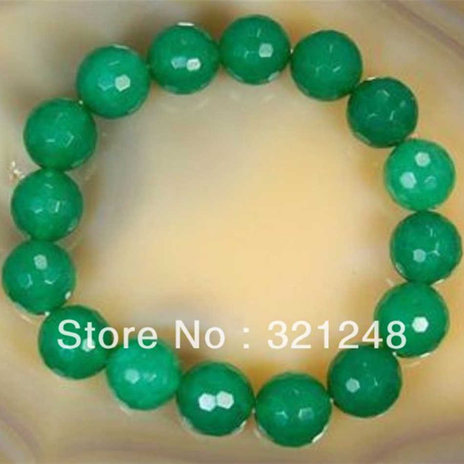 Faceted Round Green natural stone 10mm Beads Chalcedony jades Strand Bracelet Elegant Party Gift Jewelry Making 7.5inch MY1400