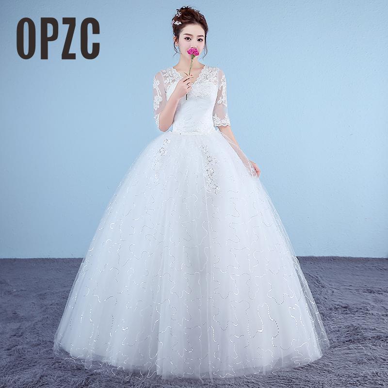 Customized White Princess Simple Wedding Dresses 2017 Appliques Lace Half Sleeve V-Neck Bridal Gown vestido de noiva Real Photo