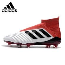 Adidas Predador 18 + Falcões Com Super Top Combinando Sapatos de Futebol FG  Branco Vermelho CM7391 b8b5b3e452a85