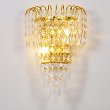 Factory Wholesale Led Wall Lamp High grade Crystal Bedside Lights For Home Sconce Indoor diameter 25cm