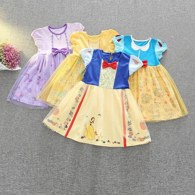 05f730ef55e Girls Princess Tutu Dress Yellow Cartoon Print Belle Dress Christmas  Halloween Costume Kids Party Vestido Cartoon Cosplay Cloth