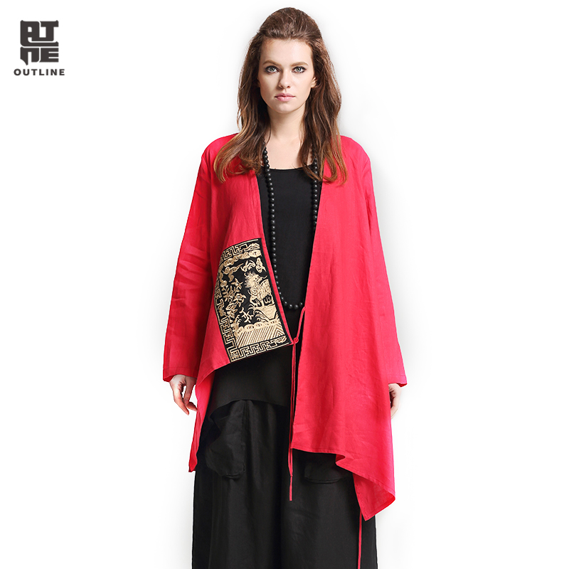 Outline Women Linen Loose Trench Vintage V-Neck Full Sleeve Short Cardigans Embrioderied Patch Asymmetric Open Stitch L171Y010