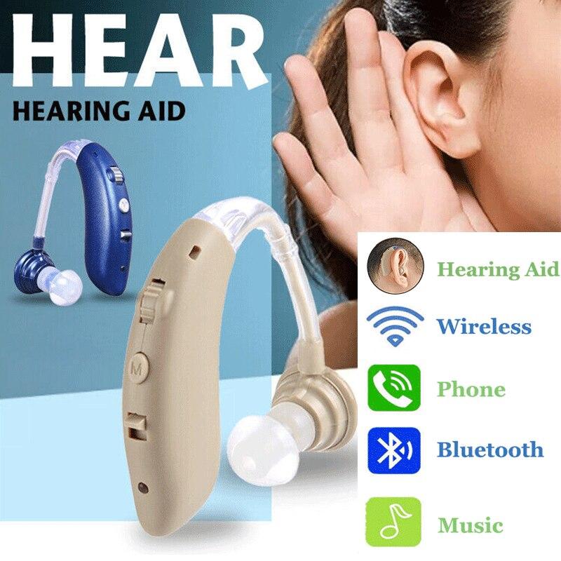 Güzellik ve Sağlık'ten İşitme Cihazları'de 1 adet şarj edilebilir kablosuz bluetooth İşitme kulaklıklar BTE ses artırıcı amplifikatör dijital sağır için yaşlı'da  Grup 1
