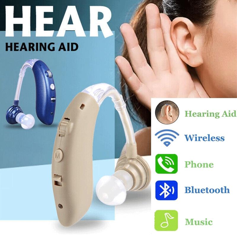 1pc Rechargeable sans fil Bluetooth aide auditive casque BTE amplificateur amplificateur de son numérique pour les personnes âgées sourdes-in Prothèses Auditives from Beauté & Santé    1