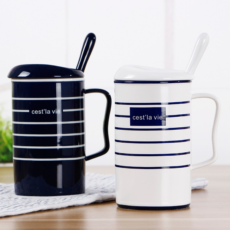 matte black coffee mug european coffee cupsKorean version cup striped ceramic cup covered with spoon mug black matte coffee cup