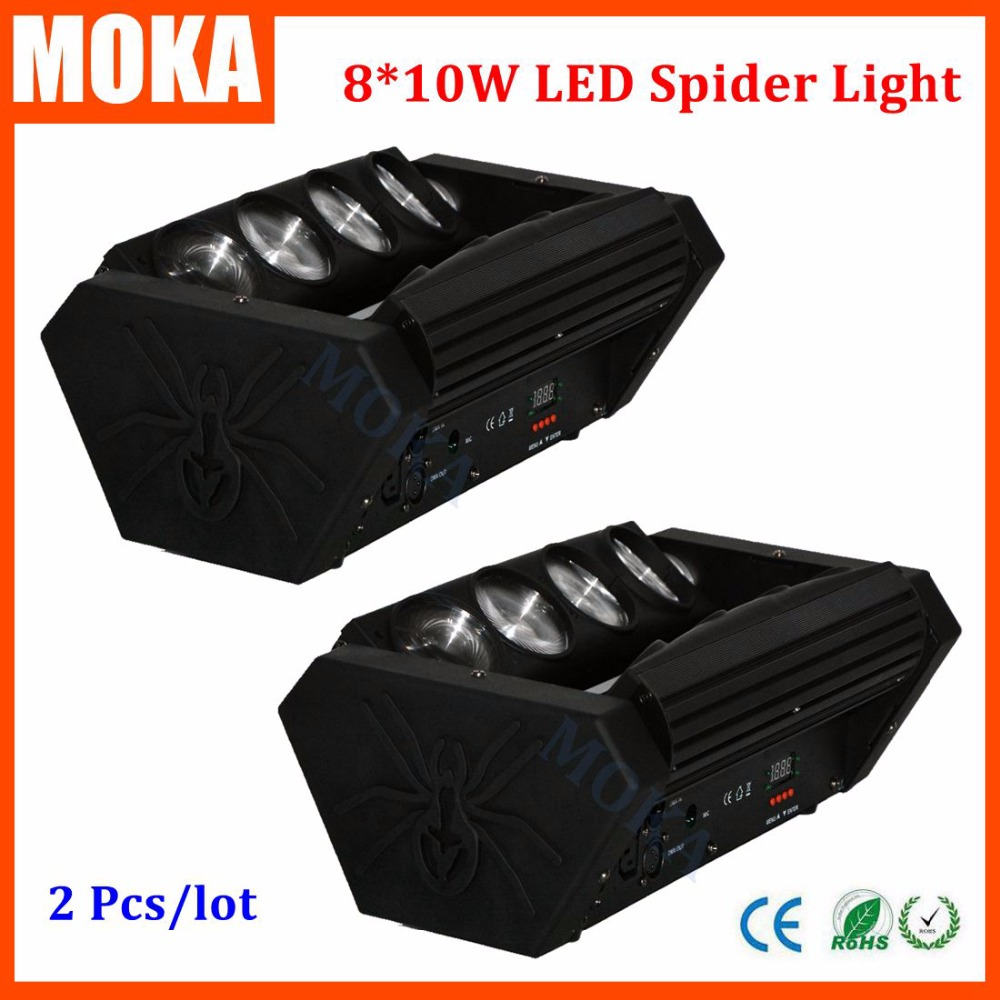 <font><b>2</b></font> Pcs/lot 8*10w mini led spider moving head indoor lighting rgbw 4 in1 Cree led spider beam bar stage DJ Double Row <font><b>Butterfly</b></font>