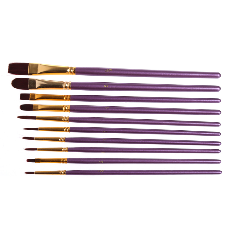 2018 High Quality 1 Set Artist Paint Brush Set Purple Nylon Hair Watercolor Acrylic Oil Painting Brushes Drawing Art Supplie