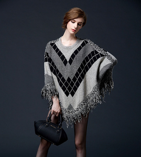 Oversized Winter Argyle Knit Sweater Pullover Women Ponchos Batwing Tassel Cloak Fringed Irregular Tops Poncho Shawl Capes S16