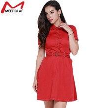 2017 Women Shirt Dress Summer Short Sleeve A-line Above knee dress Office Lady Formal Turn down collar Polo Work Dresses 1G337