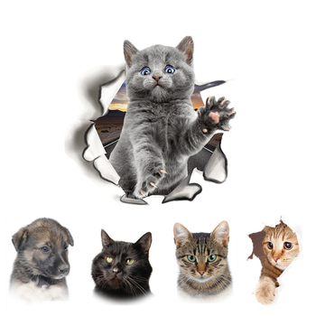 Cute cats dog 3D Wall Sticker for Living room children's Home decoration art Decals mural kitten puppy Stickers wallpaper - discount item  30% OFF Home Decor