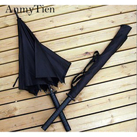 Umbrella Black Katana Strong Windproof Male Guarda Chuva Waterproof Men Big Folding Umbrella Walking Stick Rain Gear And Sun