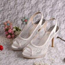 Wedopus MW012 Пользовательские Ручной Открытым Носком Кружева Свадебные Туфли Сандалии Slingback 10 СМ Высокий Каблук