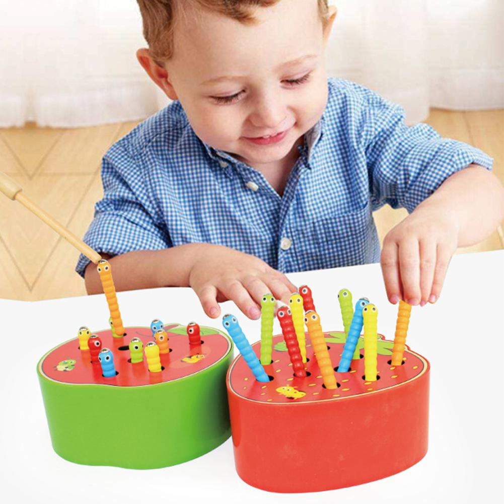 LeadingStar Baby Wooden Toys 3D Puzzle Early Childhood Educational Toys Catch Worm Game Color Cognitive Magnetic Strawberry