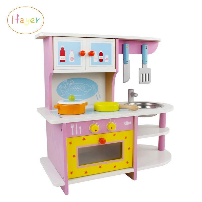 Girl's Wooden  Cooking Simulated Kitchen Gas Stove Set Baby's Home Play Intelligence Toys
