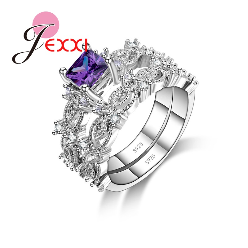 JEXXI 3 Colors Elegant Wedding Rings For Women Girls With Shiny Colorful CZ Crystal 925 Sterling Silver Wedding Engagement Ring ...
