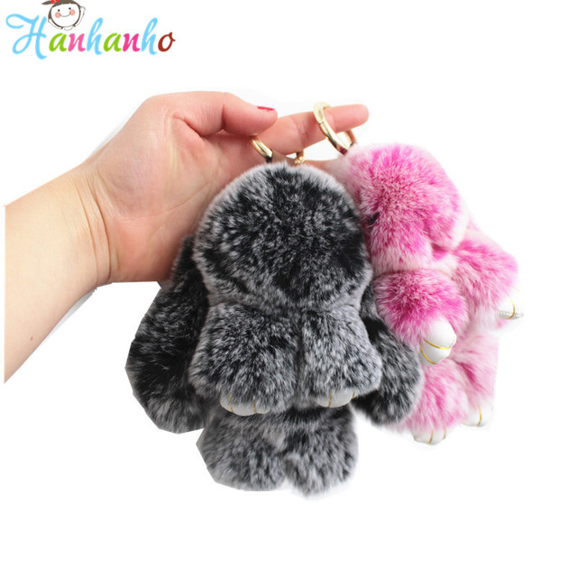 847c7fb8d Top Quality 14cm Fluffy Bunny Keychain Plush Toy Fur Rex Rabbit Toy Bag  Pendant Gift For