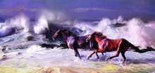 Handmade Drawing Picture Modern Abstract Animal Calligraphy Paints Decorative Handpainted Wall Art Horse Run Canvas Oil Painting