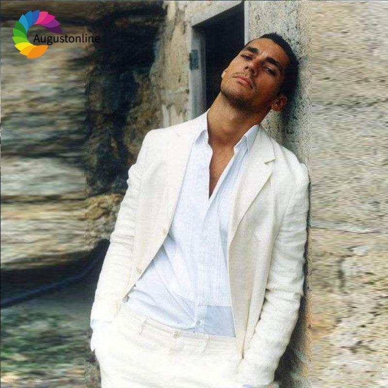 Casual Ivory/Beige Linen Men Suits Beach Wedding Suit Pants Designs 2Pieces Slim Fit Best Man Blazers Jacket Tailored Prom Wear