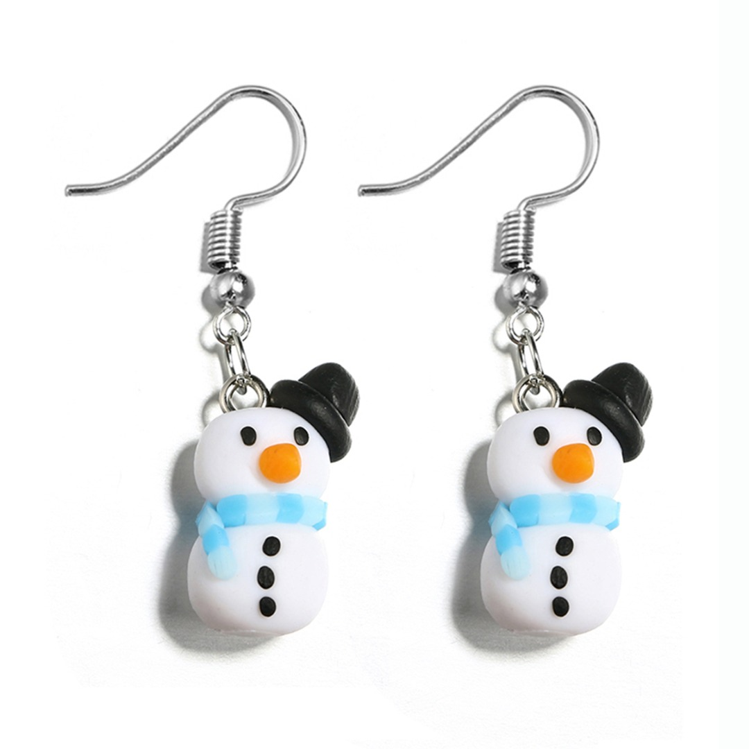 Polymer Clay Christmas Earrings.Us 1 21 36 Off Lovely Santa Claus Snowman Polymer Clay Dangle Earring For Women Shellhard Chic Fashion Christmas Earring Jewelry New Year Gift In