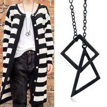 Black Gold Silver Jewelry Female Punk Triangle Simple Retro Long Sweater Chain Necklace(China)