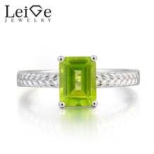 Leige Jewelry Natural Peridot Ring Peridot Wedding Ring Emerald Cut Green Gemstone August Birthstone 925 Sterling Silver Ring