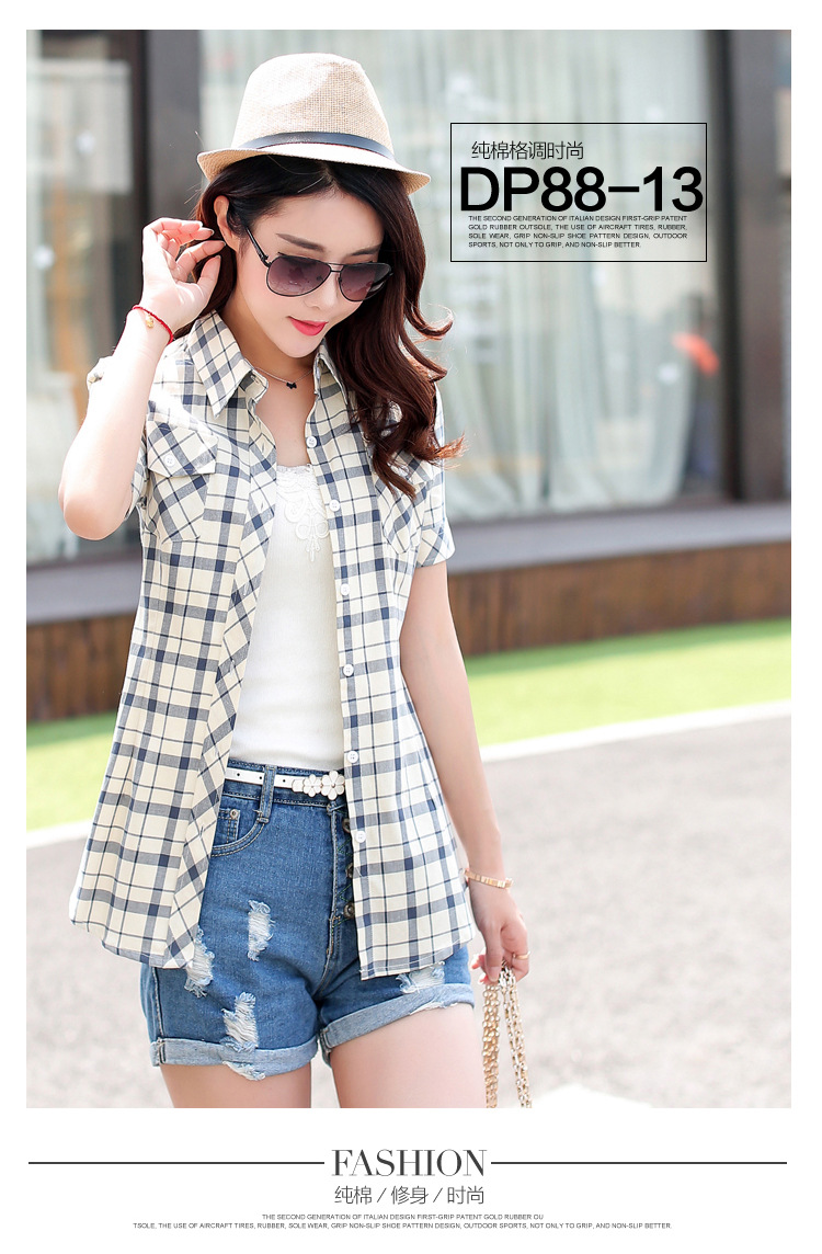 HTB12MrAHFXXXXXraXXXq6xXFXXXB - New 2017 Summer Style Plaid Print Short Sleeve Shirts Women