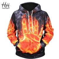 HanHent Fire Palm Hooded Hoodies Men's 3D Digital Printing Loose Casual Geek Style Sweatshirts 2018 New Autumn 3D Men's Hoodie