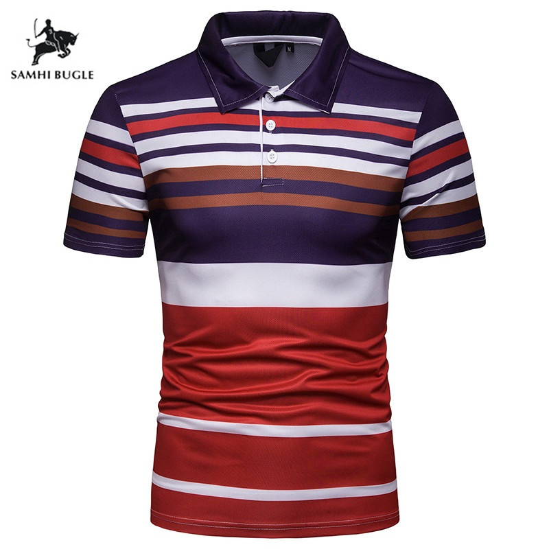 Summer New 2019   Polo   Shirt Men Stripe design Business Casual   Polos   Homme Short Sleeve Striped   Polo   Shirt
