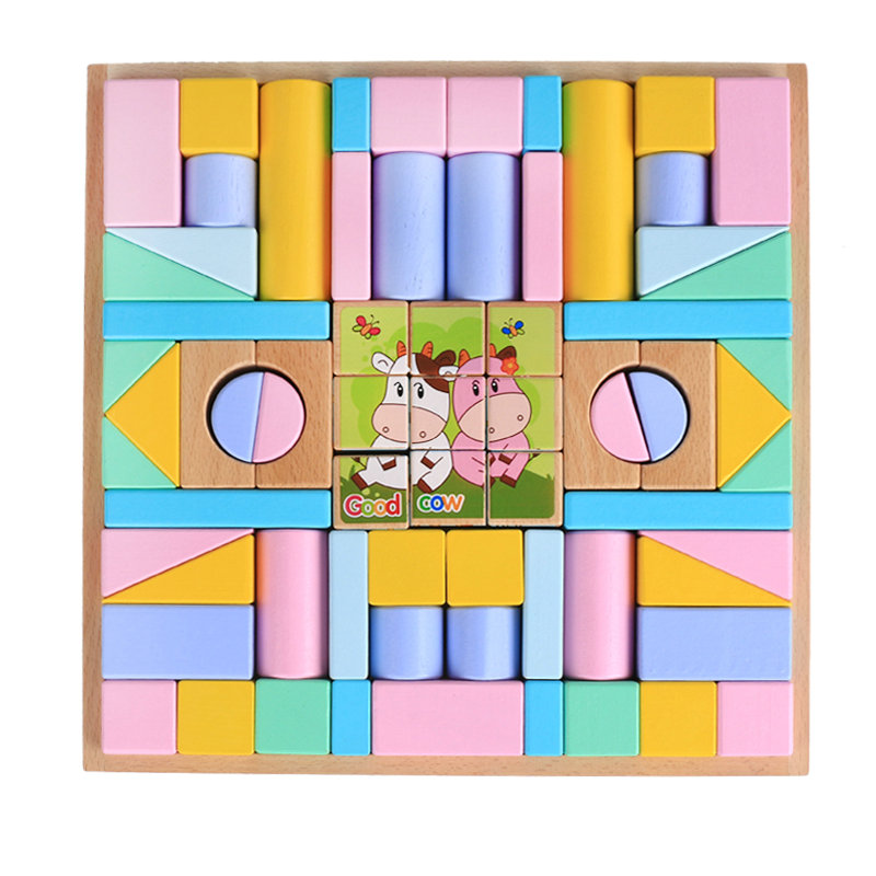 Kids classic educational 70pcs Beechwood blocks toy Wooden building blocks, children's wood Models & Building Toy Block toys t3184b educational toy coin slide chip game toy playing toy set