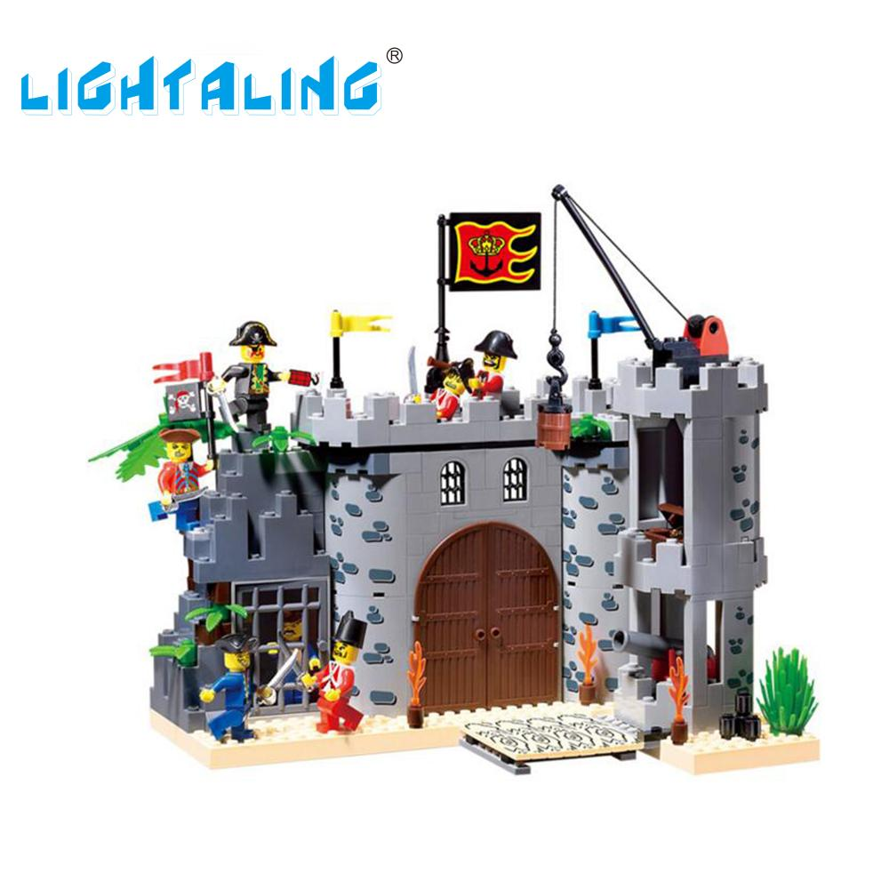 Lightaling Castle Pirates Model Building Blocks Compatible with Famous Brand Bricks Sets & Knight Figures Kids Toy Super Gift kazi 608pcs pirates armada flagship building blocks brinquedos caribbean warship sets the black pearl compatible with bricks