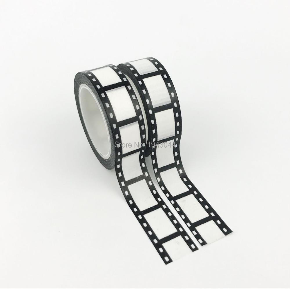 2pcs/lot Decorative Black And White Camera Film Washi Tapes Japanese 10m Kawaii Scrapbooking Tools Masking Tape For Photo Album