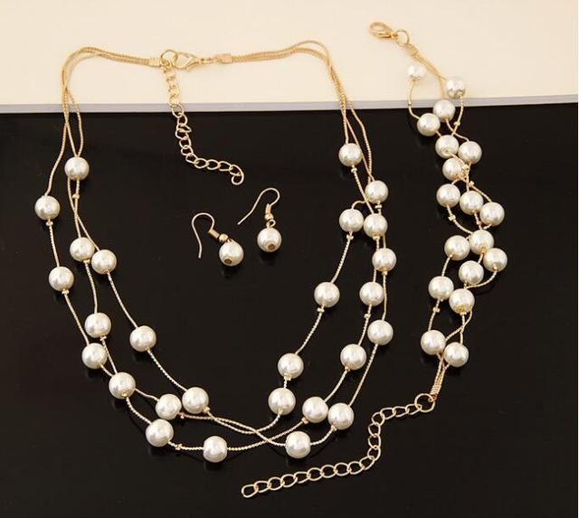 Imitation Pearl Jewelry Set Gold Plated Simulated Pearl Double Layer Women Earrings Necklace Bracelet Sets for Wedding N271