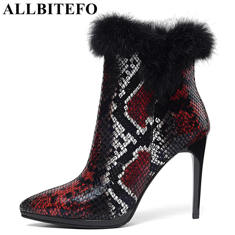 ALLBITEFO natural genuine leather + real Rabbit's hair women boots Snake texture design winter fashion girls motorcycle boots allbitefo natural genuine leather snake texture cow leather women ankle boots fashion sexy motorcycle boots girls winter shoes