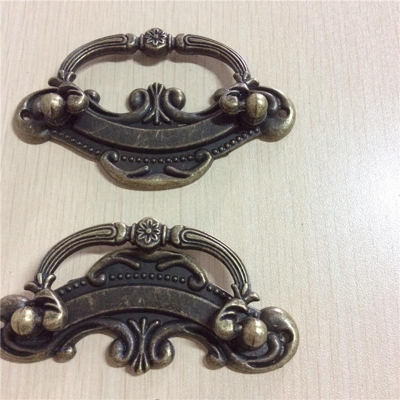 Box-Handle-Knobs-Tracery-Basket-Bronze-Tone-9-4cm-x4-5cm-Furniture-Hardware-100Pcs