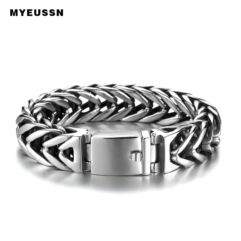 Silver Foxtail Box Link Stainless Steel Bangles 18mm Wide Hip Hop Simple Style Father's Day Gift High Quality Jewelry Bracelet